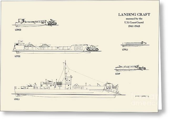 World War 2 Drawings Greeting Cards - World War 2 Landing Craft Manned by the US Coast Guard Greeting Card by Jerry McElroy - Public Domain Image