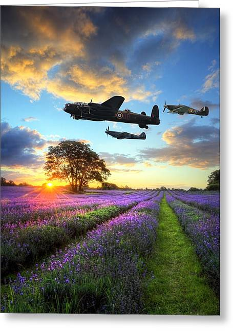 Colorful Cloud Formations Greeting Cards - World War 2 RAF airplanes flying at sunset over vibrant lavender Greeting Card by Matthew Gibson
