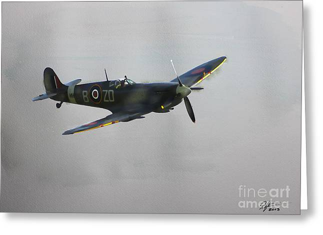 Spitfire Mixed Media Greeting Cards - World War 2 Spitfire Greeting Card by Roger Lighterness