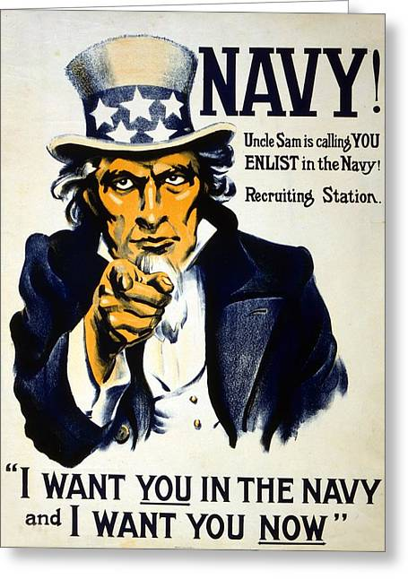Navy Greeting Cards - World War I 1914 1918 American recruitment poster 1917 Navy Uncle Sam is calling you  Greeting Card by Anonymous