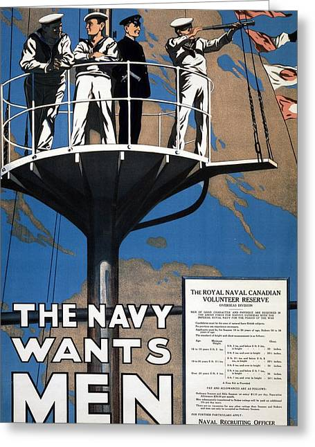 Navy Greeting Cards - World War I 1914 1918 Canadian recruitment poster for the Royal Canadian Navy  Greeting Card by Anonymous