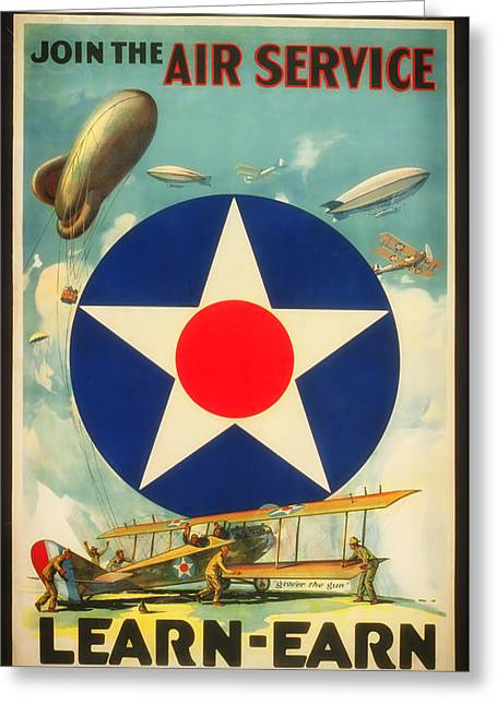Air Service Greeting Cards - World War I Recruiting Poster Greeting Card by Mountain Dreams