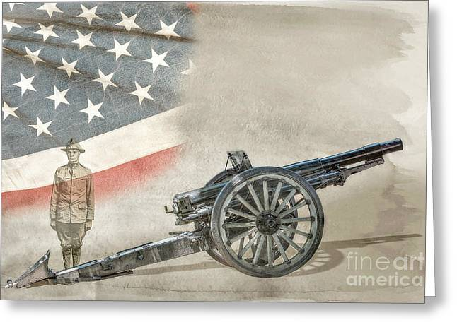 Doughboy Digital Greeting Cards - World War I Soldier and Cannon Greeting Card by Randy Steele