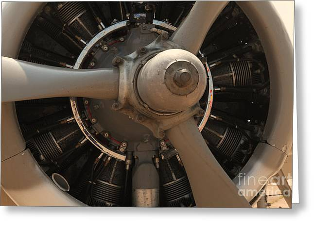 Aircraft Radial Engine Greeting Cards - World War II Airplene Engine Greeting Card by M K  Miller