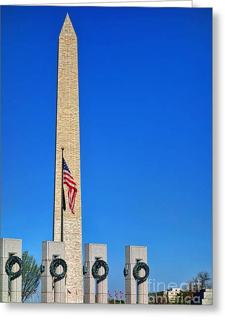Dedicated Greeting Cards - World War II Memorial and Washington Monument Greeting Card by Olivier Le Queinec