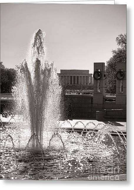 National Memorial Greeting Cards - World War II Memorial Fountain Greeting Card by Olivier Le Queinec