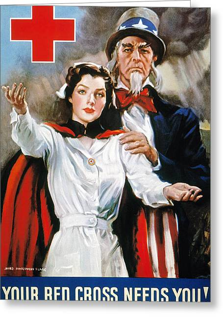 Flagg Greeting Cards - World War Ii: Red Cross Greeting Card by Granger