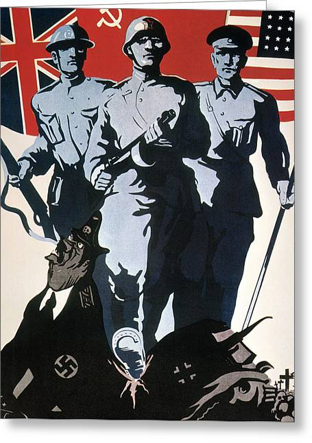 Dictatorships Greeting Cards - World War Ii: Soviet Poster Greeting Card by Granger