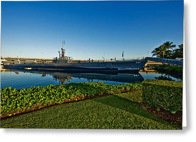 Pearl Harbor Greeting Cards - World War Ii Submarine At A Museum, Uss Greeting Card by Panoramic Images