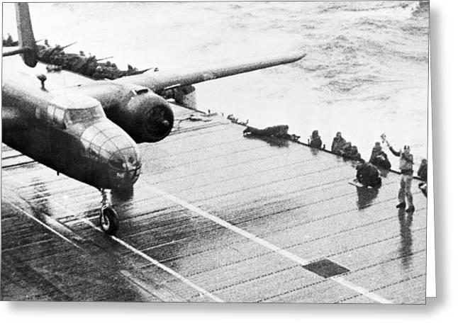 B25 Photographs Greeting Cards - World War Ii: Uss Hornet Greeting Card by Granger