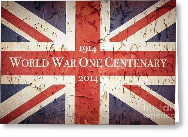 Ww1 Greeting Cards - World War One Centenary Union Jack Greeting Card by Jane Rix