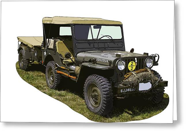 Four-wheel Greeting Cards - World War Two Army Jeep With Trailer  Greeting Card by Keith Webber Jr