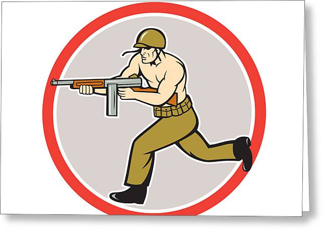 Tommy Gun Greeting Cards - World War Two Soldier American Tommy Gun  Greeting Card by Aloysius Patrimonio