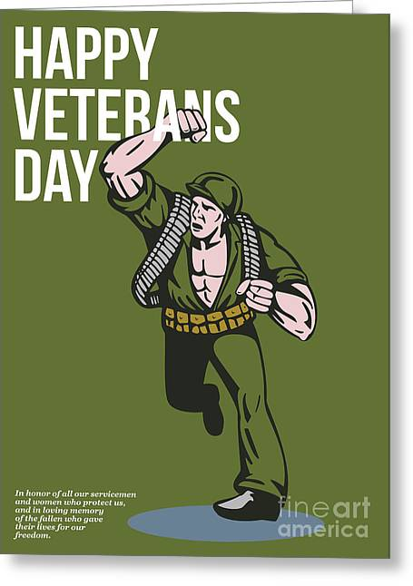 World War Two Veterans Day Soldier Card Greeting Card by Aloysius Patrimonio