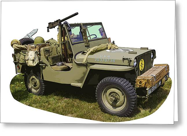 Four-wheel Greeting Cards - World War Two - Willys - Army Jeep  Greeting Card by Keith Webber Jr