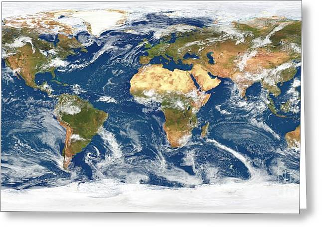 World Weather, Satellite Image Greeting Card by Planetary Visions Ltd