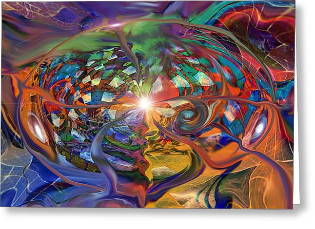 Psychedelic Space Art Greeting Cards - World Within A World Greeting Card by Linda Sannuti