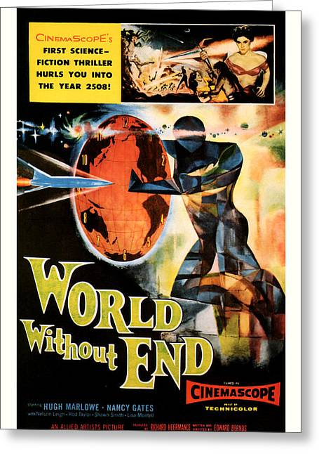 Suspense Mixed Media Greeting Cards - World without End 1956 Greeting Card by Presented By American Classic Art