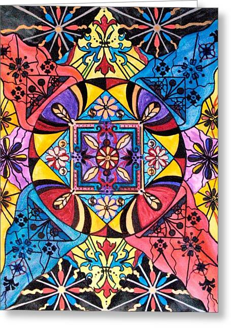 Geometric Art Greeting Cards - Worldly Abundance Greeting Card by Teal Eye  Print Store