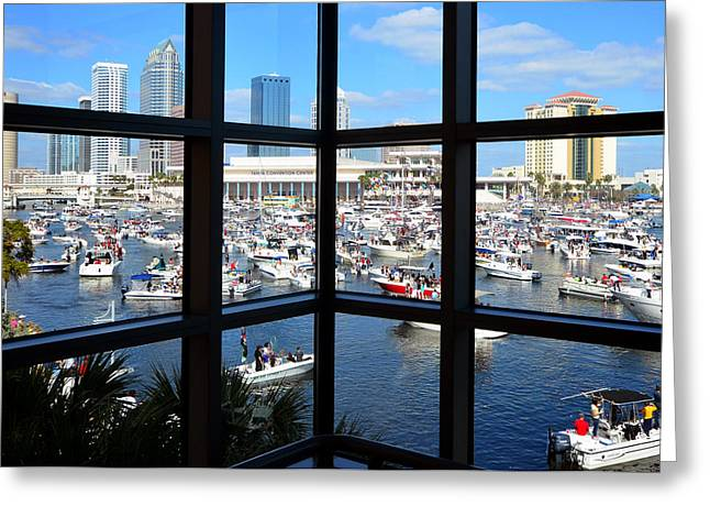Tampa Bay Florida Greeting Cards - Worlds biggest boat party Greeting Card by David Lee Thompson