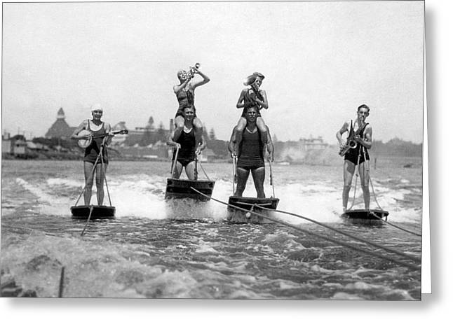 World's Only Aquaplane Band Greeting Card by Underwood Archives