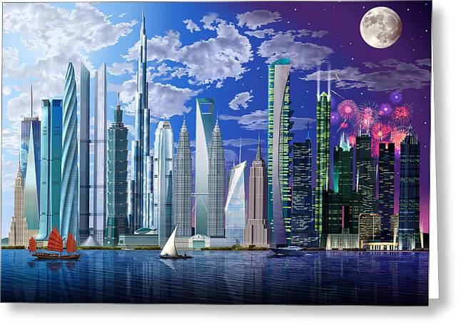 Firework Greeting Cards - Worlds Tallest Buildings Greeting Card by Garry Walton