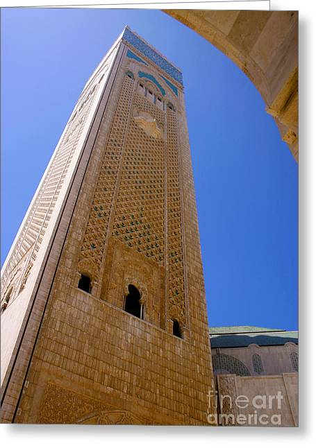 Northern Africa Greeting Cards - Worlds Tallest Minaret at 210m Hassan II Mosque Grand Mosque Sour Jdid Casablanca Morocco Greeting Card by Ralph A  Ledergerber-Photography