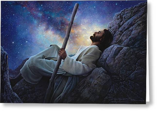 Contemplation Paintings Greeting Cards - Worlds Without End Greeting Card by Greg Olsen