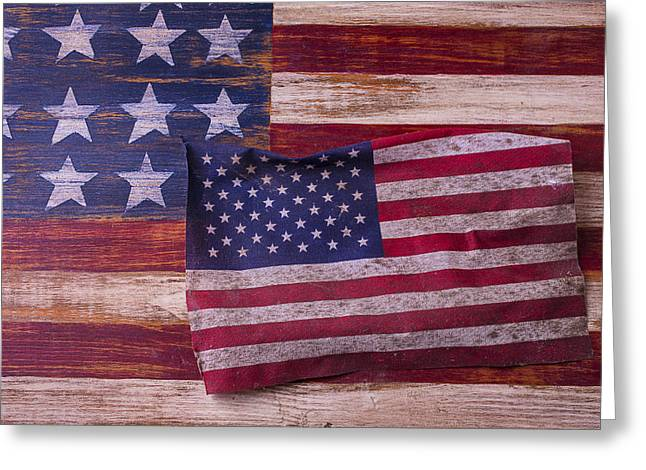 White Beard Greeting Cards - Worn American Flag Greeting Card by Garry Gay
