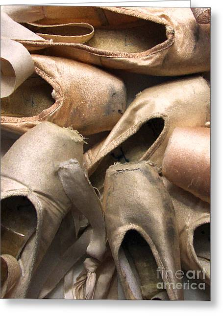 Worn Out Greeting Cards - Worn Ballet Shoes Greeting Card by Diane Diederich