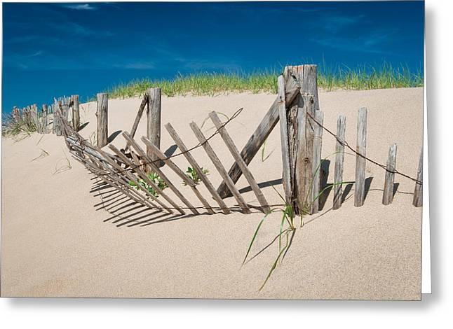 Sand Fences Greeting Cards - Worn Beach Fence Greeting Card by Michael Blanchette