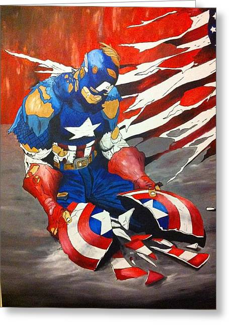 Captain America Paintings Greeting Cards - Worn Greeting Card by Brandy Slone