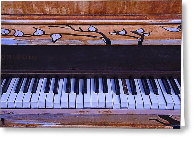 Discarded Greeting Cards - Worn Funky Piano Greeting Card by Garry Gay