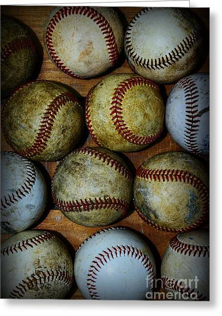 Minor League Greeting Cards - Worn Out Baseballs Greeting Card by Paul Ward