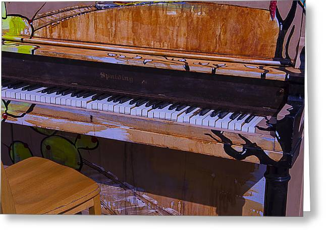 Discarded Greeting Cards - Worn Sidewalk Piano Greeting Card by Garry Gay