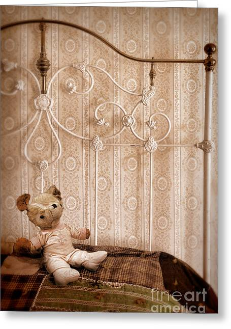 Bed Quilts Greeting Cards - Worn Teddy Bear on Brass Bed Greeting Card by Jill Battaglia