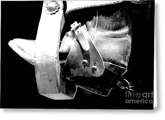 Worn Western Leather Boot With Spur In Stirrup Conte Crayon Black And White Digital Art Greeting Card by Shawn O'Brien