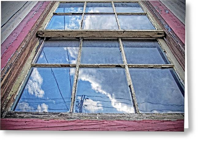 Worn In Digital Greeting Cards - Worn Window Reflects the Outside World in a Dream Like State Greeting Card by Donna Haggerty