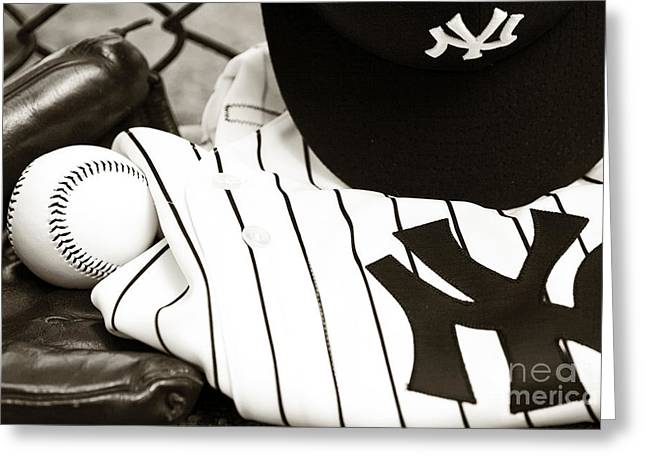 American Pastime Photographs Greeting Cards - Worn With Pride Greeting Card by John Rizzuto
