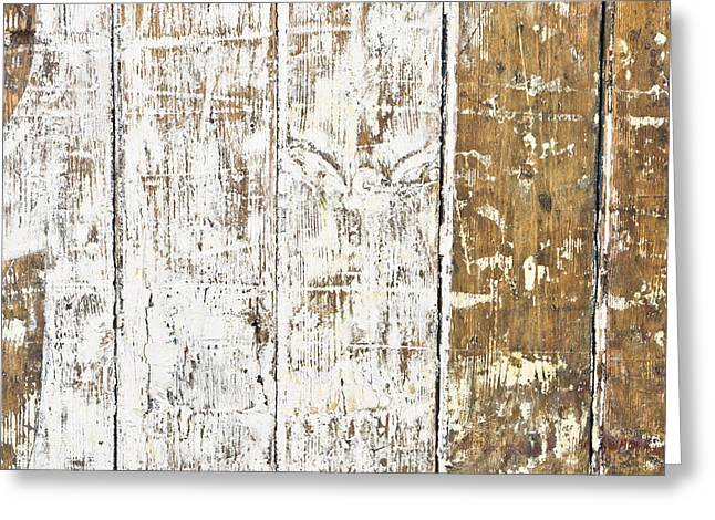 Beige Abstract Greeting Cards - Worn wood  Greeting Card by Tom Gowanlock