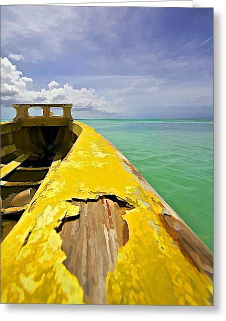 Water Vessels Greeting Cards - Worn Yellow Fishing Boat of Aruba Greeting Card by David Letts