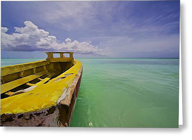 Water Vessels Greeting Cards - Worn Yellow Fishing Boat of Aruba II Greeting Card by David Letts