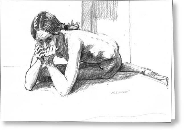 Thin Drawings Greeting Cards - Worried Girl Greeting Card by Mark Lunde