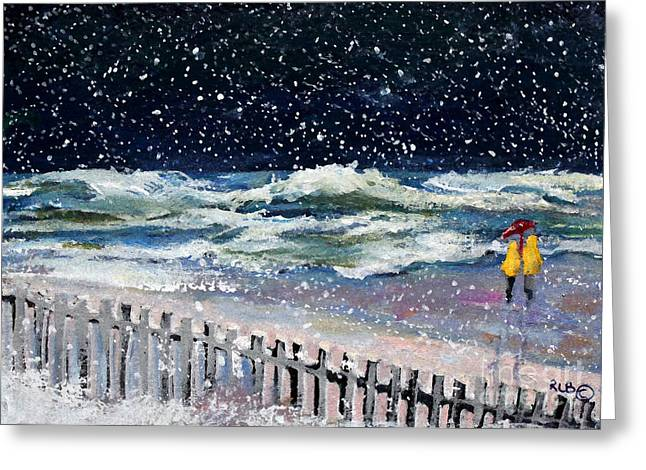Worry About High Tide Greeting Card by Rita Brown