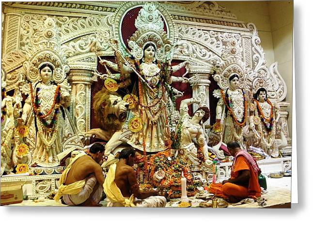 Durga Puja Greeting Cards - Worship Greeting Card by Dola Sekharam