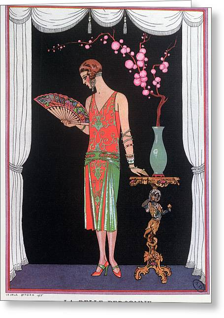 Short Hair Greeting Cards - Worth evening dress fashion plate from Gazette du Bon Ton Greeting Card by Georges Barbier