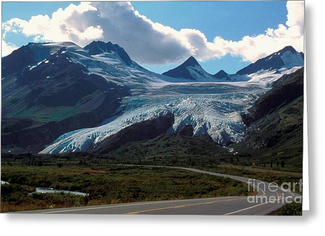 Mountain Road Greeting Cards - Worthington Glacier Greeting Card by Novastock