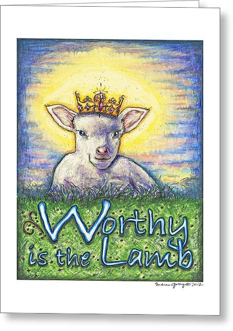Christ Sculptures Greeting Cards - Worthy is the Lamb Greeting Card by Andrea Gray