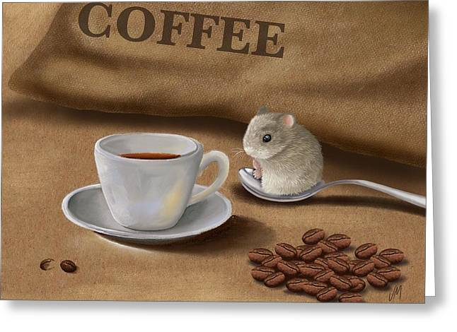 Paiting Greeting Cards - Would you like a cup of coffee? Greeting Card by Veronica Minozzi