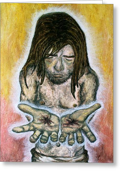 Jesus Pastels Greeting Cards - Wounded Healer Greeting Card by Lindy Marie
